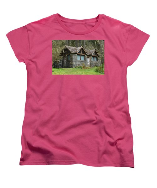 Tiny House In The Woods Women's T-Shirt (Standard Cut) by Angi Parks