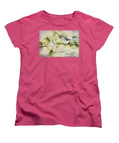 Women's T-Shirt (Standard Cut) featuring the mixed media Titmouse In Blossoms 2 by Lori Deiter