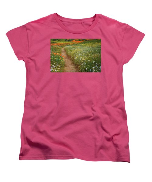 Women's T-Shirt (Standard Cut) featuring the photograph Trail Of Wildflowers At Diamond Lake In California by Jetson Nguyen