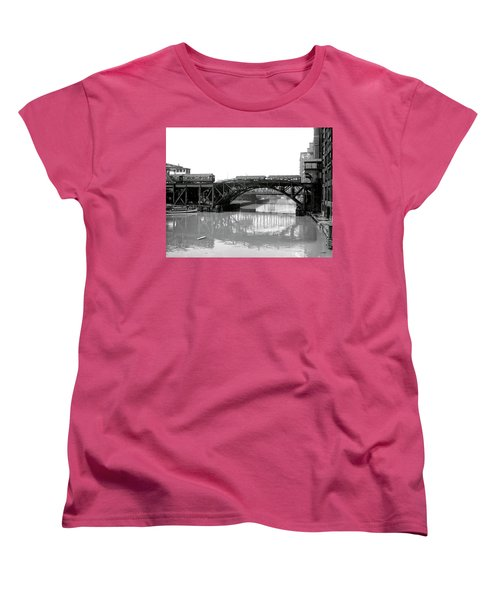 Women's T-Shirt (Standard Cut) featuring the photograph Trains Cross Jack Knife Bridge - Chicago C. 1907 by Daniel Hagerman