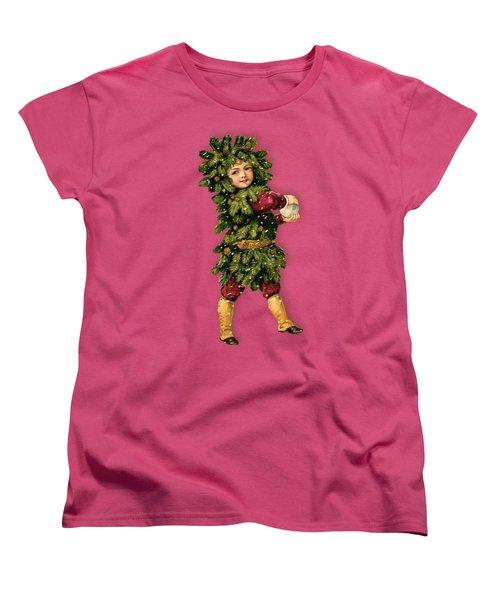 Tree Child Vintage Christmas Image Women's T-Shirt (Standard Cut) by R Muirhead Art