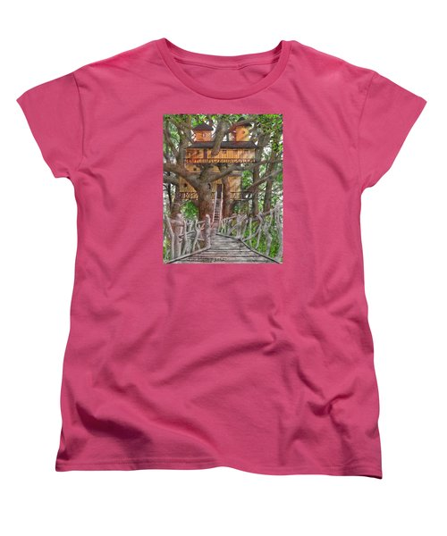 Women's T-Shirt (Standard Cut) featuring the drawing Tree House #6 by Jim Hubbard