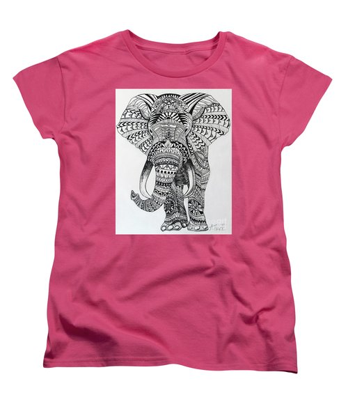 Women's T-Shirt (Standard Cut) featuring the painting Tribal Elephant by Ashley Price
