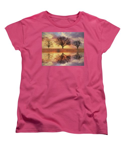 Women's T-Shirt (Standard Cut) featuring the mixed media Trio Of Trees by Lori Deiter