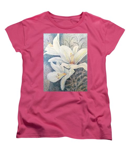 Women's T-Shirt (Standard Cut) featuring the painting Triplefold White by Carolyn Rosenberger