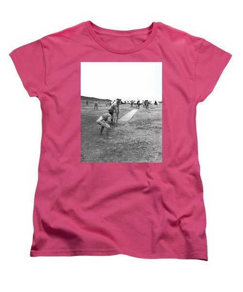 Troops Playing Cricket Women's T-Shirt (Standard Cut) by Underwood Archives
