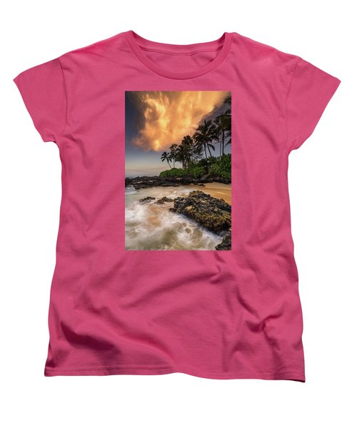 Women's T-Shirt (Standard Cut) featuring the photograph Tropical Nuclear Sunrise by Pierre Leclerc Photography