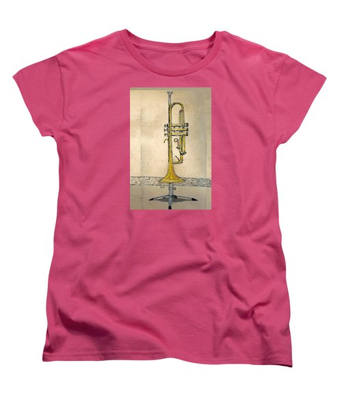 Women's T-Shirt (Standard Cut) featuring the digital art Trumpet by Walter Chamberlain