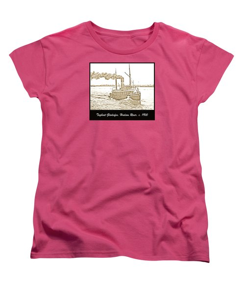 Women's T-Shirt (Standard Cut) featuring the photograph Tugboat Gladisfen Hudson River C 1900 Vintage Photograph by A Gurmankin