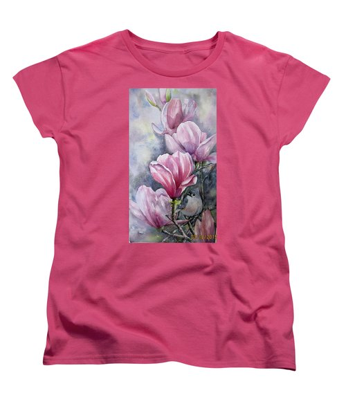 Tulips And Titmouse Women's T-Shirt (Standard Cut)