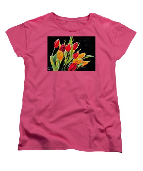 Tulips Colors Women's T-Shirt (Standard Cut) by Khalid Saeed