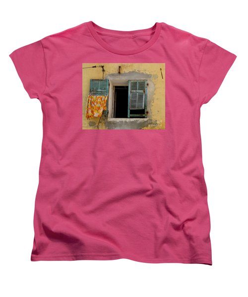 Turquoise Shuttered Window Women's T-Shirt (Standard Cut) by Lainie Wrightson