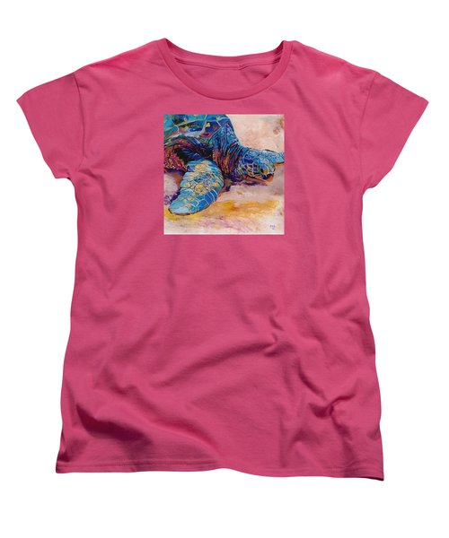 Women's T-Shirt (Standard Cut) featuring the painting Turtle At Poipu Beach 6 by Marionette Taboniar
