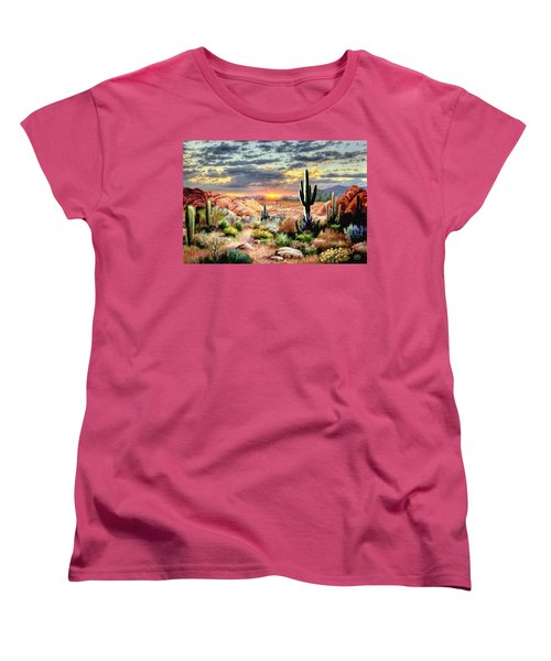Twilight On The Desert Women's T-Shirt (Standard Cut) by Ron Chambers
