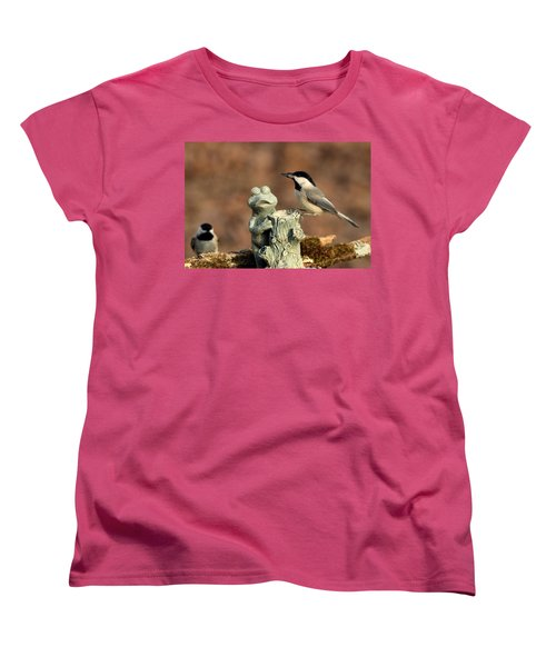 Two Black-capped Chickadees And Frog Women's T-Shirt (Standard Cut) by Sheila Brown