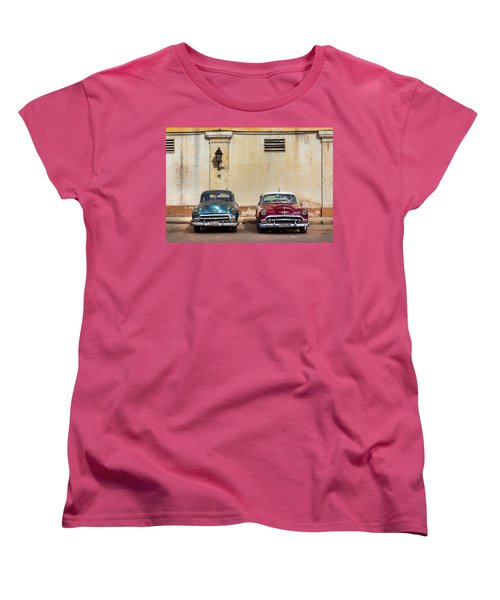 Women's T-Shirt (Standard Cut) featuring the photograph Two Old Vintage Chevys Havana Cuba by Charles Harden