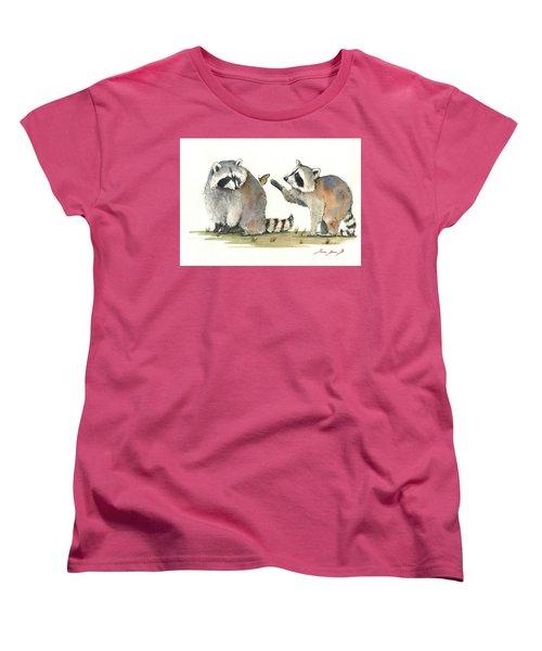 Two Raccoons Women's T-Shirt (Standard Cut) by Juan Bosco