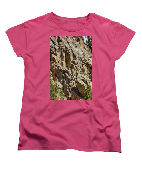 Women's T-Shirt (Standard Cut) featuring the photograph Two Rock Climbers Making Their Way by James BO Insogna