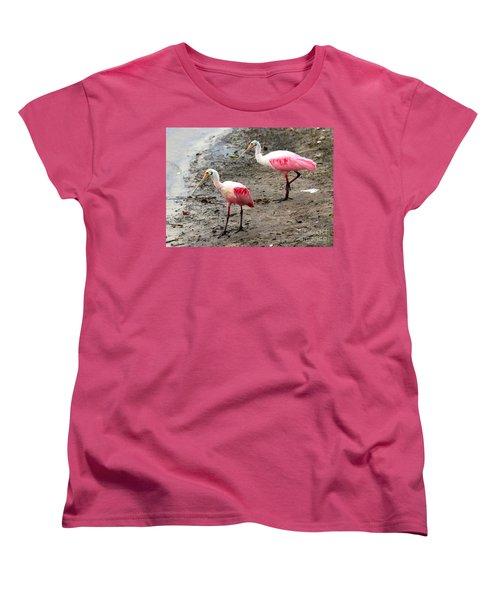Two Roseate Spoonbills Women's T-Shirt (Standard Cut) by Carol Groenen