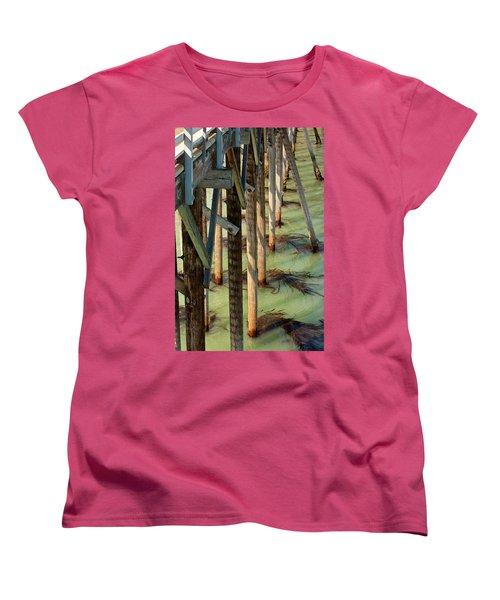 Women's T-Shirt (Standard Cut) featuring the photograph Under San Simeon Pier by Art Block Collections