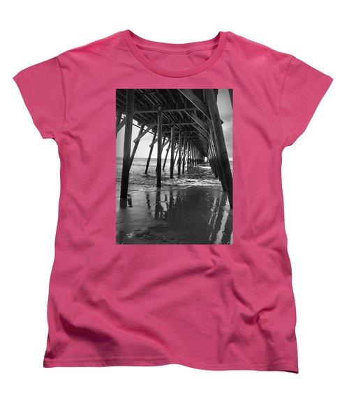 Under The Pier At Myrtle Beach Women's T-Shirt (Standard Cut) by Kelly Hazel