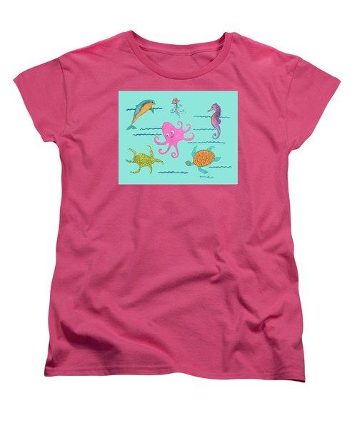 Under The Sea, Pink Octopus Women's T-Shirt (Standard Cut)