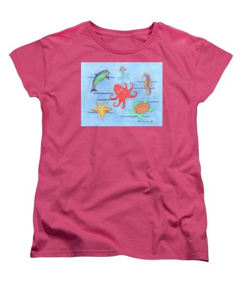 Under The Sea, Red Octopus Women's T-Shirt (Standard Cut)