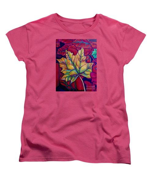 Women's T-Shirt (Standard Cut) featuring the painting Understudy Of A Turning Maple Leaf In The Fall by Kimberlee Baxter