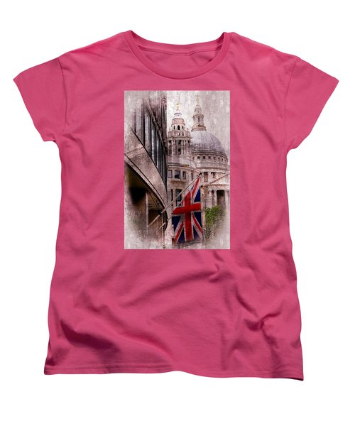 Union Jack By St. Paul's Cathdedral Women's T-Shirt (Standard Cut) by Karen McKenzie McAdoo