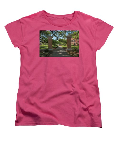 Women's T-Shirt (Standard Cut) featuring the photograph University And Johnston Entrance by Gregory Daley  PPSA
