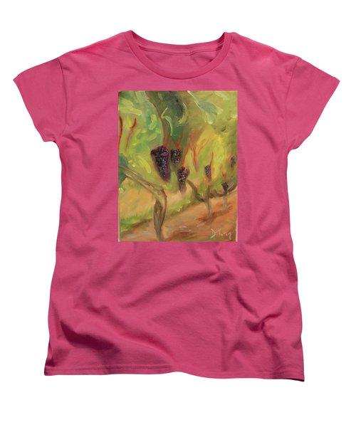 Women's T-Shirt (Standard Cut) featuring the painting Valhalla Vineyard by Donna Tuten