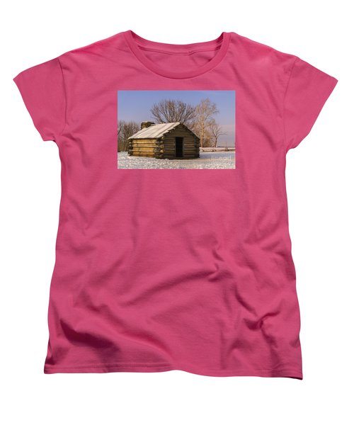Valley Forge Cabin At Sunset Women's T-Shirt (Standard Cut) by Rima Biswas