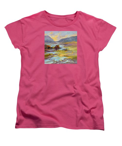 Women's T-Shirt (Standard Cut) featuring the painting Valley Vantage Point by Rae Andrews