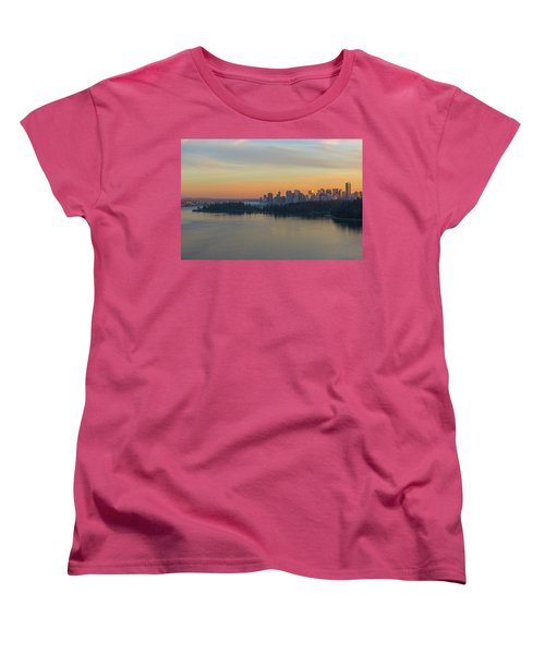 Vancouver Bc Skyline And Stanley Park At Sunset Women's T-Shirt (Standard Fit)