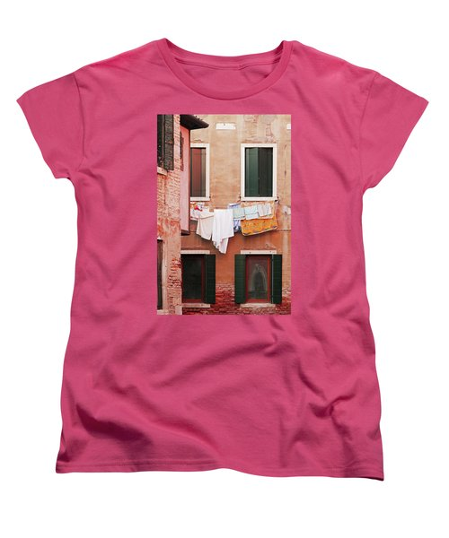 Venetian Laundry In Peach And Pink Women's T-Shirt (Standard Cut) by Brooke T Ryan