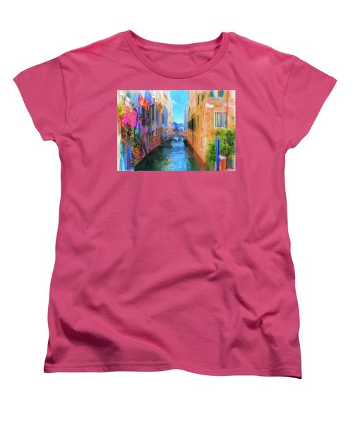 Venice Canal Painting Women's T-Shirt (Standard Cut) by Michael Cleere