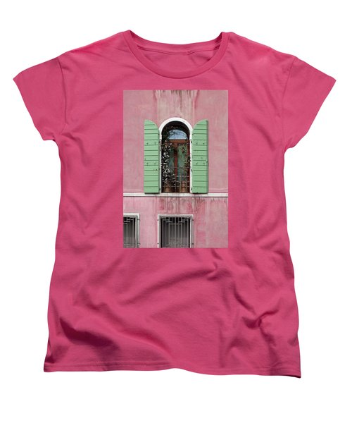 Venice Window In Pink And Green Women's T-Shirt (Standard Cut) by Brooke T Ryan