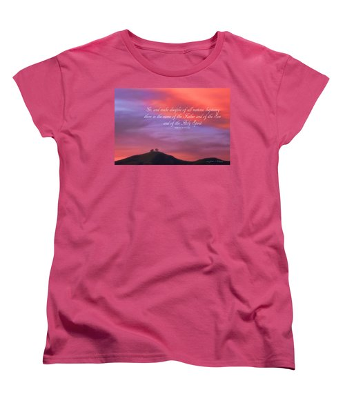 Women's T-Shirt (Standard Cut) featuring the photograph Ventura Ca Two Trees At Sunset With Bible Verse by John A Rodriguez