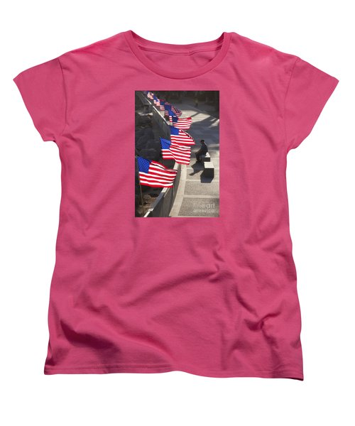 Women's T-Shirt (Standard Cut) featuring the photograph Veteran With United States Flags by John A Rodriguez