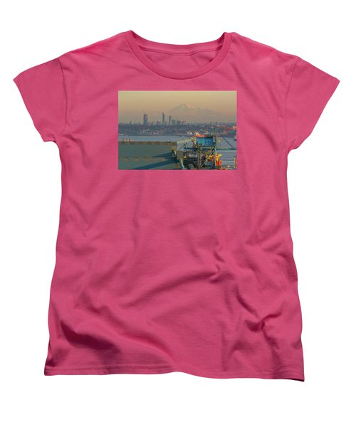 View Of Mount Baker And Vancouver Bc At Sunset Women's T-Shirt (Standard Fit)