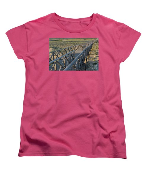View Of The Wooden Bridge In Quinta Do Lago Women's T-Shirt (Standard Cut) by Angelo DeVal