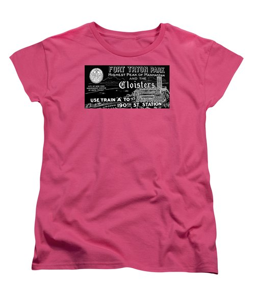 Vintage Cloisters And Fort Tryon Park Poster Women's T-Shirt (Standard Cut) by Cole Thompson