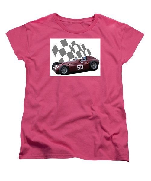 Women's T-Shirt (Standard Cut) featuring the photograph Vintage Racing Car And Flag 1 by John Colley