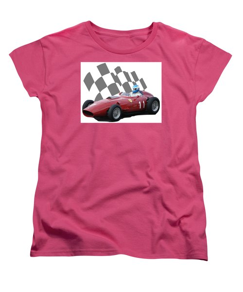 Women's T-Shirt (Standard Cut) featuring the photograph Vintage Racing Car And Flag 2 by John Colley
