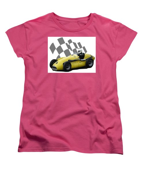Women's T-Shirt (Standard Cut) featuring the photograph Vintage Racing Car And Flag 4 by John Colley