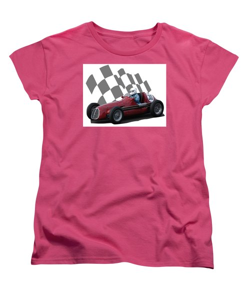 Women's T-Shirt (Standard Cut) featuring the photograph Vintage Racing Car And Flag 6 by John Colley