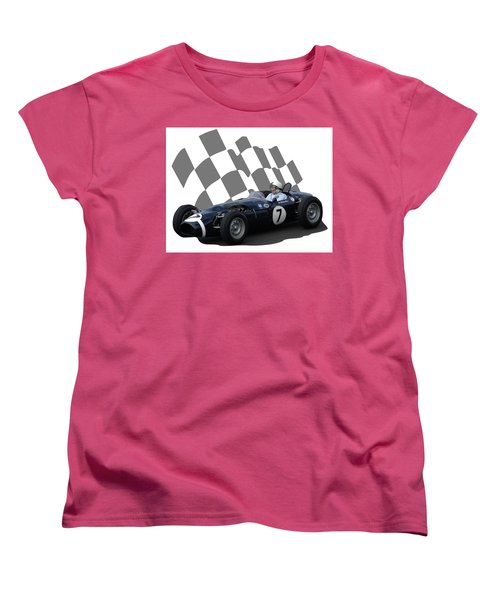 Women's T-Shirt (Standard Cut) featuring the photograph Vintage Racing Car And Flag 8 by John Colley