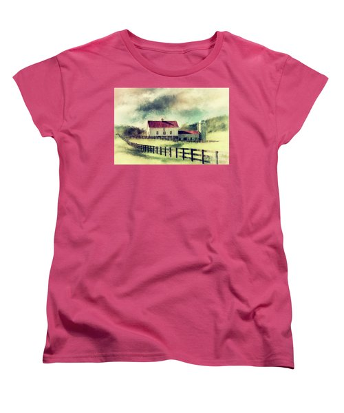 Women's T-Shirt (Standard Cut) featuring the digital art Vintage Red Roof Barn by Lois Bryan