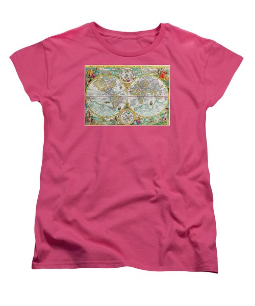Women's T-Shirt (Standard Cut) featuring the photograph Vintage World Map by Peggy Collins