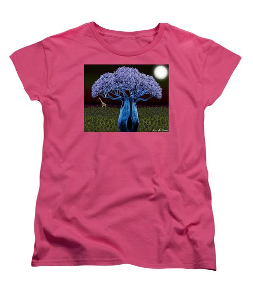 Violet Blue Baobab Women's T-Shirt (Standard Cut) by Iowan Stone-Flowers